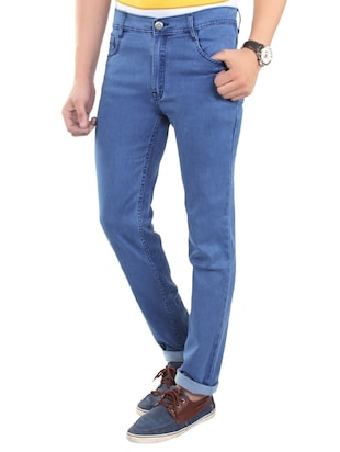 solid blue cotton blend jeans - 13749908 - Standard Image - 2