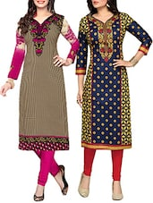Multi Coloured Cotton Printed Unstitched Kurtas Combo (set Of 2) - By