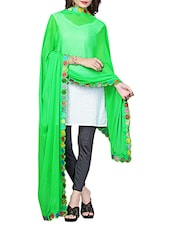 Green Chiffon Bordered Dupatta - By
