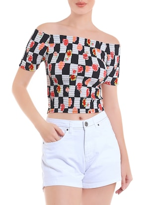 multicolroed printed crop top