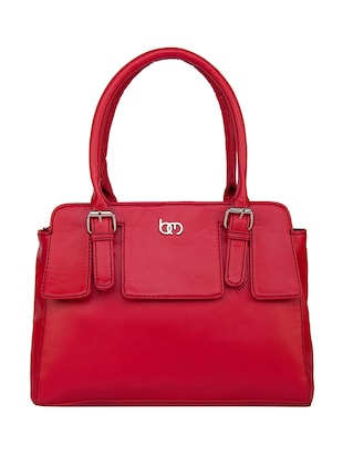 red leatherette regular handbag