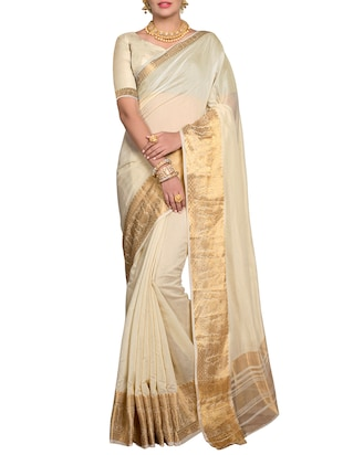 off white bordered saree