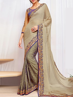 biege chiffon embroidered half and half saree with blouse