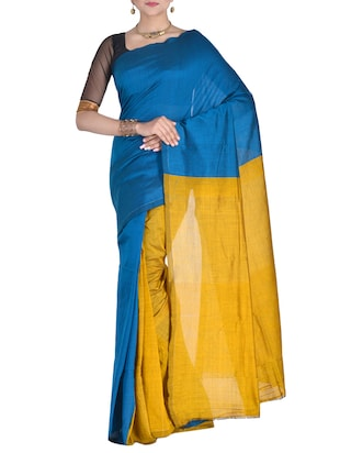 blue & yellow handloom saree with blouse