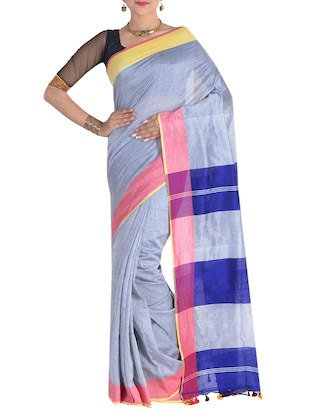 grey handloom saree with blouse