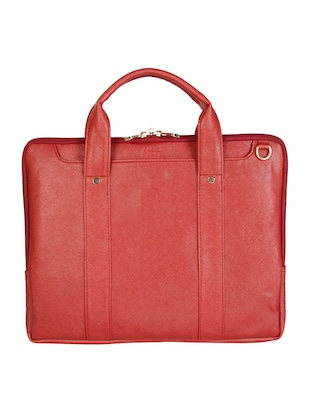red leatherette laptop bag