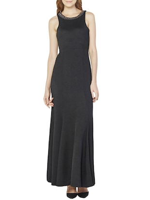AND black polyester maxi dress