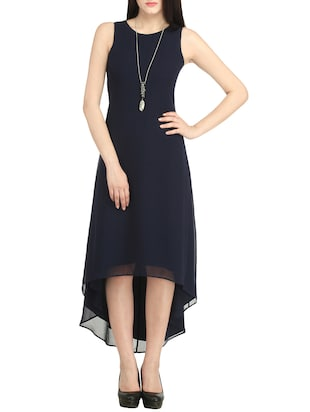 navy blue poly georgette asymmetric dress