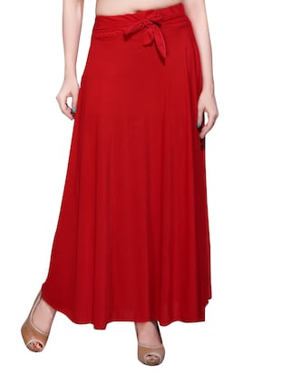 red crepe maxi skirt