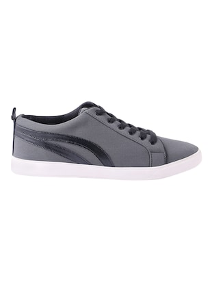 grey canvas lace up sneakers - 13802989 - Standard Image - 2