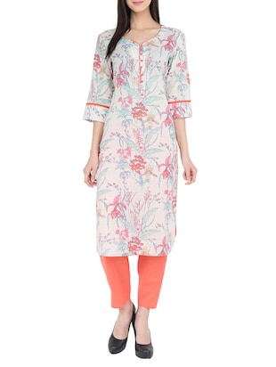 multi colored cotton printed straight kurta