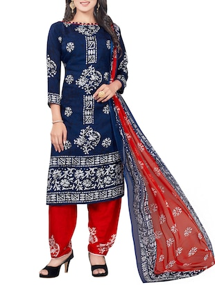 blue crepe printed patiyala suit dress material