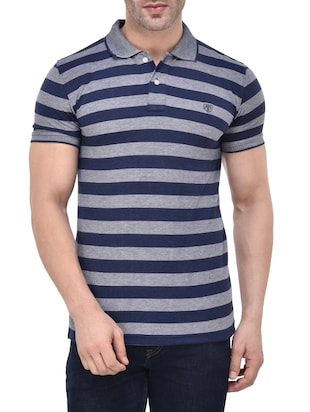 grey cotton striped t-shirt