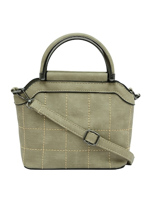 grey leatherette  structured handbag -  online shopping for handbags