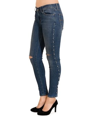 blue embellished denim jean - 13811738 - Standard Image - 2