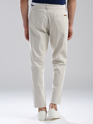 white cotton flat front casual trouser - 13813868 - Standard Image - 2