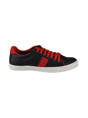 black leatherette lace up sneaker - 13817576 - Standard Image - 2