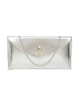 silver leather envelope clutch