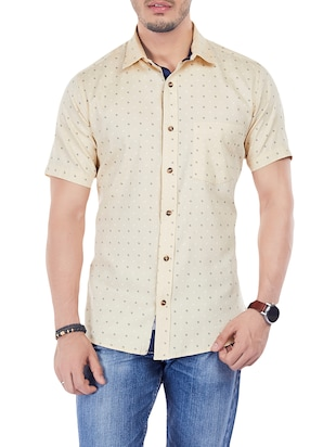 beige cotton casual shirt