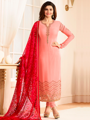 pink straight churidaar suit material