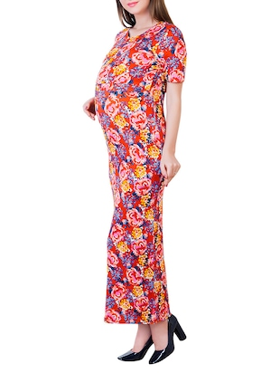 red printed viscose maternity wear - 13853780 - Standard Image - 2