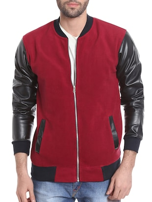 red cotton casual jacket