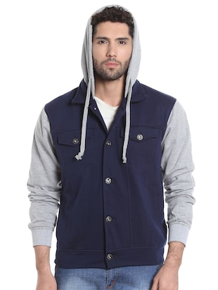 blue cotton casual jacket - 13855347 - Standard Image - 2