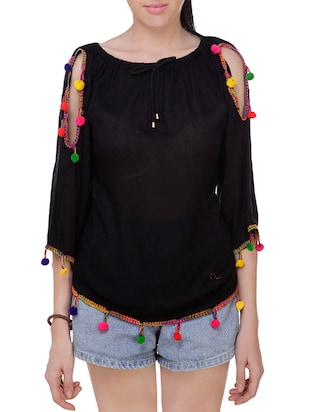 black rayon cold shoulder top