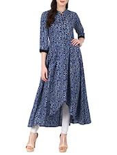 Blue Cotton High Low Flared  Kurta - By