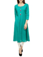 Turquoise Cotton Aline Kurta - By