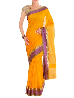 yellow cotton silk printed saree with blouse