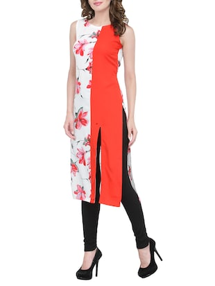 white & red floral straight kurta - 13876815 - Standard Image - 2