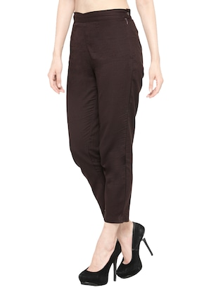 solid brown cotton cigarette pant - 13877809 - Standard Image - 2