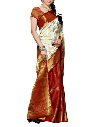white and red kanjivaram silk  saree with blouse - 13885563 - Standard Image - 2