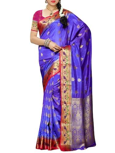 96616e9aa37346 Buy Navy Blue Kanjivaram Silk Saree With Blouse for Women from ...