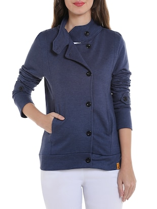 solid blue cotton jacket