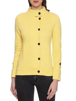 solid yellow cotton buttoned jacket