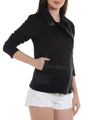 solid black cotton jacket - 13892830 - Standard Image - 2