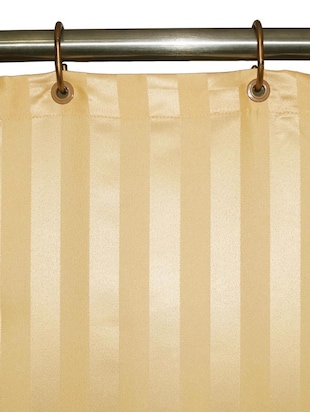 Lushomes Thick Striped Beige Water Repellent Shower Curtain