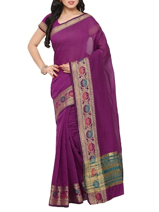 Purple  cotton bordered saree
