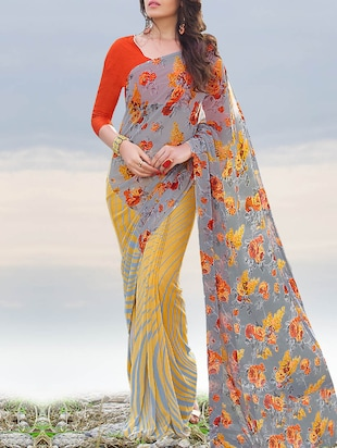multi coloured georgette printed saree with blouse