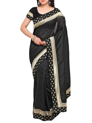 black art silk bordered saree