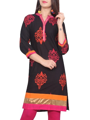 black cotton printed straight kurta