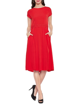 red A-line dress with side pockets