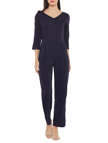 c80f13b1eae Buy Solid Navy Blue Full Leg Jumpsuit for Women from Meee! for ...