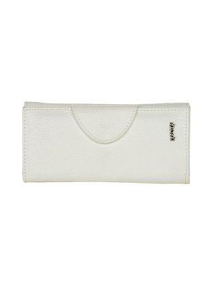 white polyester fold over clutch