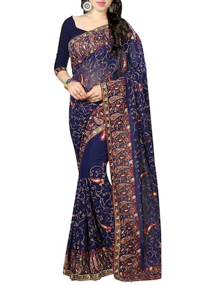 blue georgette embroidered saree with blouse