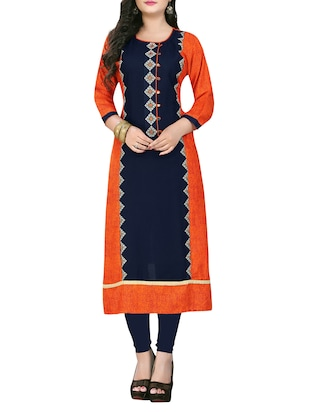 orange & blue rayon straight kurta