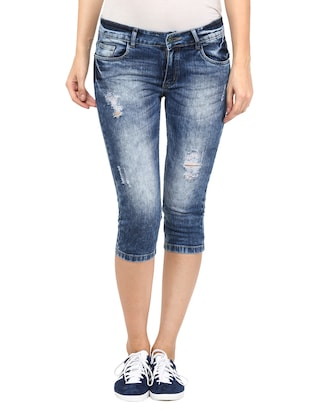 distressed blue denim capri
