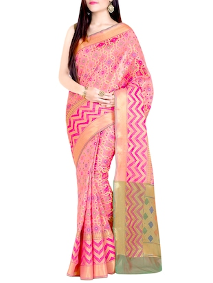 peach cotton blend woven saree with blouse